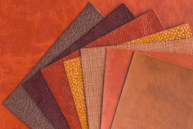 Top view of assortment of leather Free Photo
