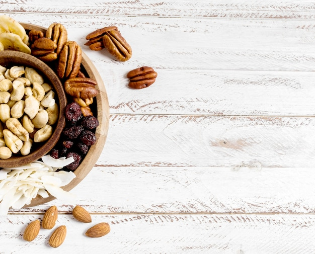 Top view of assortment of nuts with copy space Free Photo