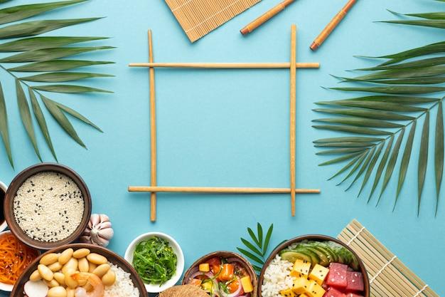 Ассортимент вкусных блюд для поке, вид сверху Бесплатные Фотографии