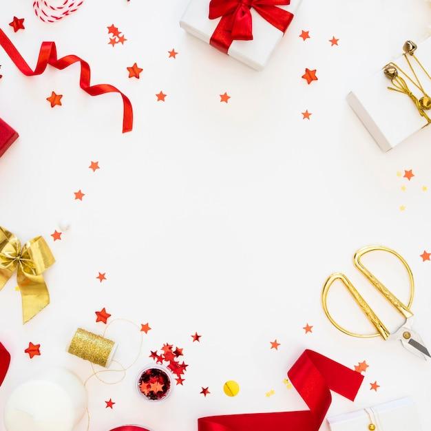 Вид сверху на упакованные подарки Бесплатные Фотографии