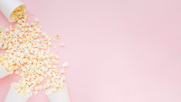 Top view assortment of salted popcorn with copy space Premium Photo