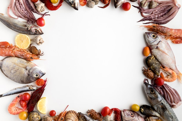 Top view of assortment of seafood frame Free Photo