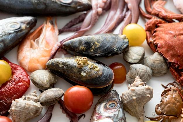 Vista dall'alto dell'assortimento di frutti di mare con cozze e calamari Foto Gratuite