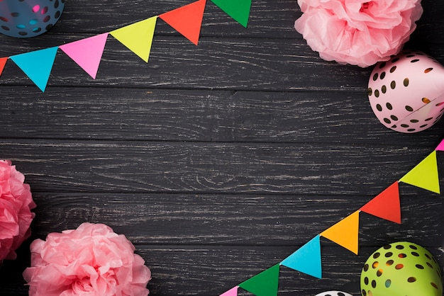 Top view assortment with party decorations Free Photo