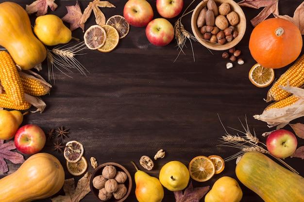Вид сверху осенняя еда круглая рамка Бесплатные Фотографии