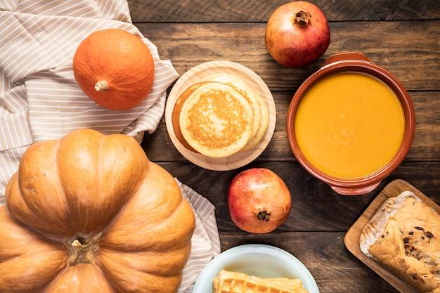 Top view autumn food on striped sheet Free Photo