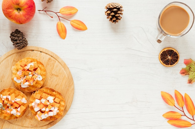 Top view autumn food with copy space Free Photo