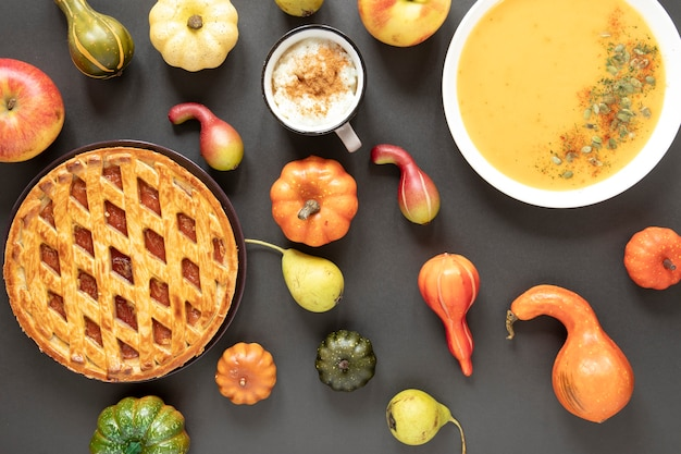 Top view autumn food with gray background Free Photo