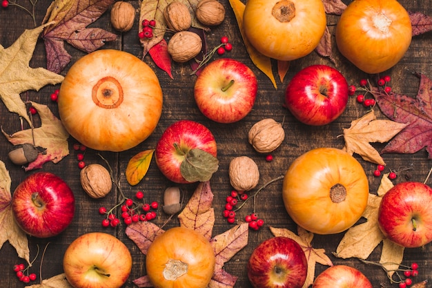 Top view autumn harvest and leaves Free Photo