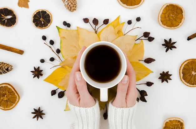Top view autumn leaves with coffee Free Photo