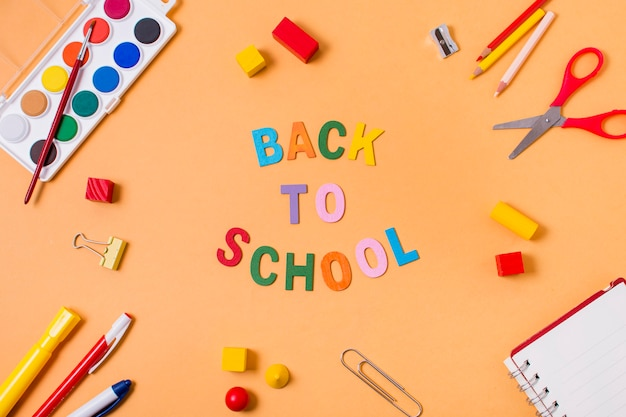 Top view of back to school concept Free Photo
