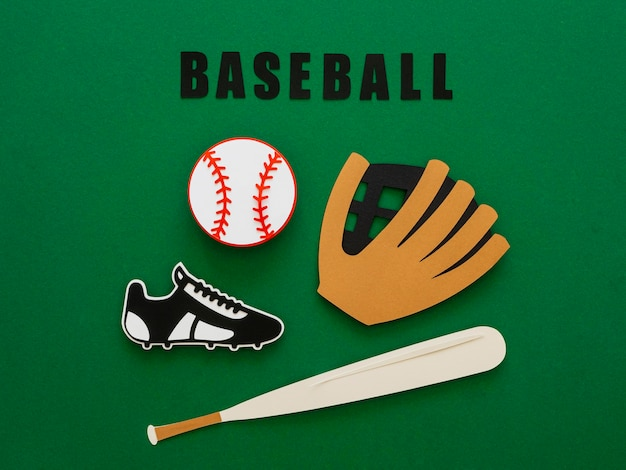 Top view of baseball with bat, glove and sneaker Free Photo
