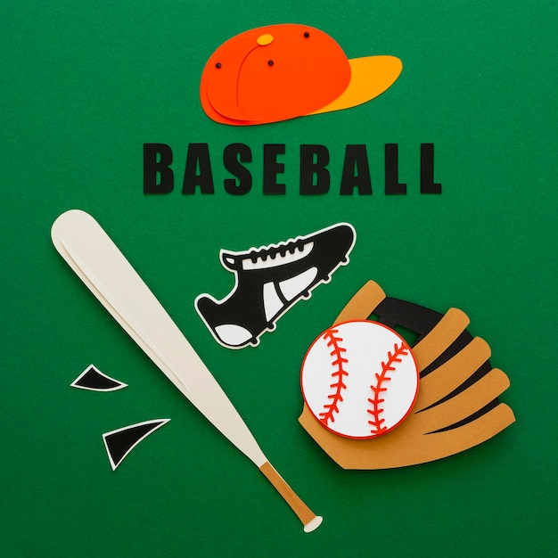 Top view of baseball with bat, sneaker and cap Free Photo