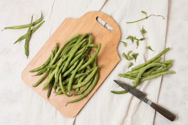 Top view of beans on chopping board Premium Photo