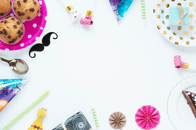 Top view beautiful birthday items with copy space Free Photo