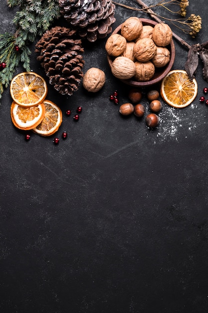 Top view beautiful christmas arrangement with copy space Free Photo