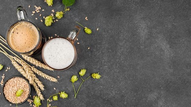 Рамка для пива, вид сверху с копией пространства Бесплатные Фотографии