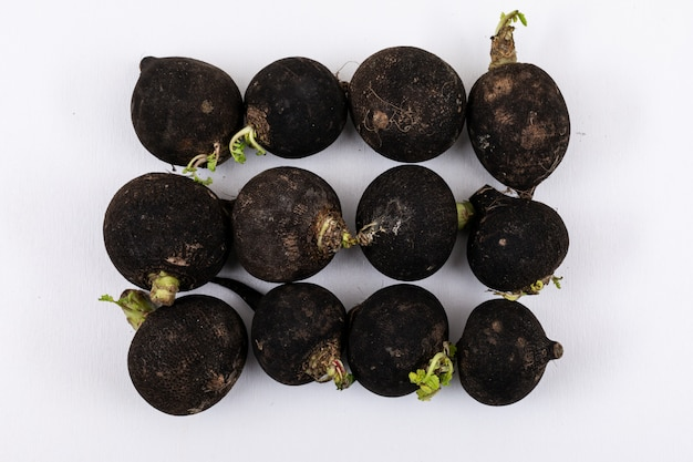 Top view of black radishes Free Photo