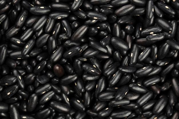 Top view of black shiny beans Premium Photo