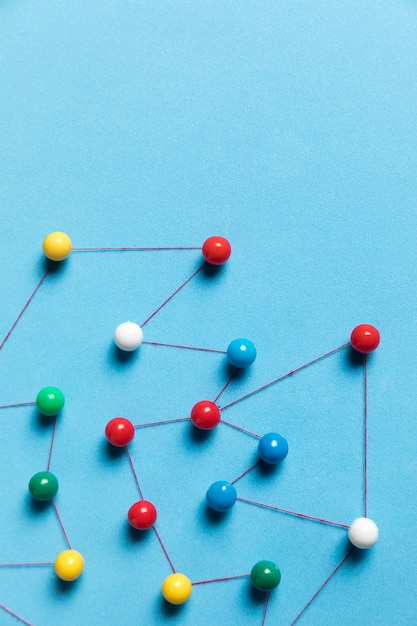 Top view blue background pushpin map Free Photo