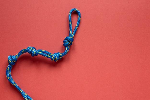 Вид сверху синяя веревка с копией пространства узла Бесплатные Фотографии