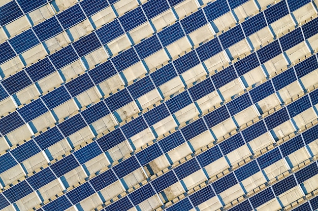 Top view of blue solar panels Premium Photo