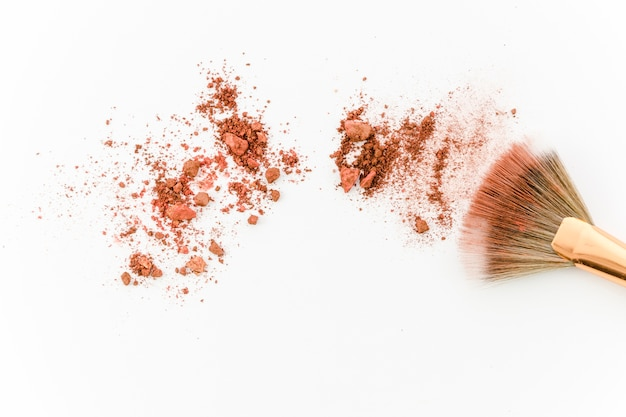 Top view blush with brush Free Photo
