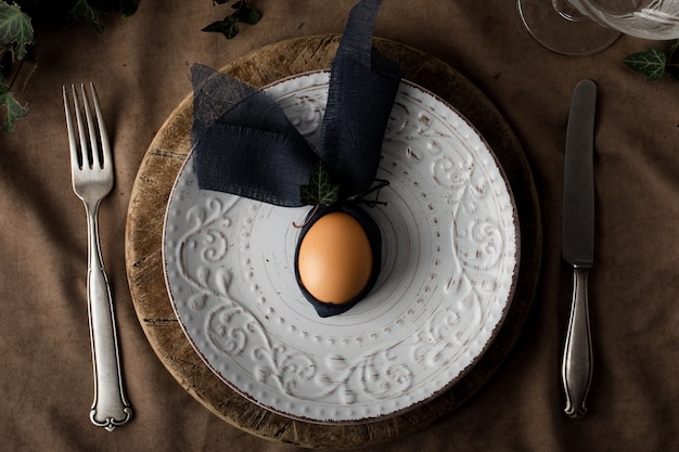 Top view boiled egg on a plate Free Photo