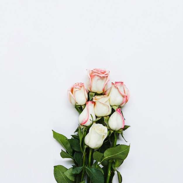 Top view bouquet of roses Free Photo