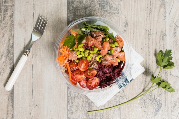 Top view of bowl with assortment of healthy food Free Photo
