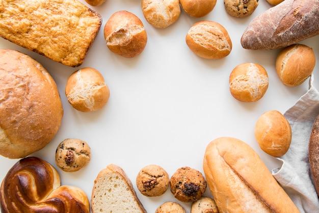 Вид сверху хлебная смесь Premium Фотографии