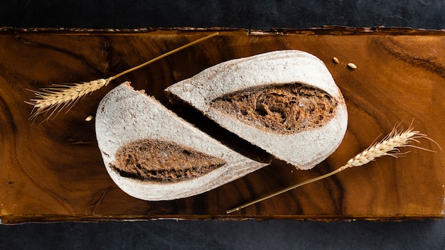 Top view of bread and wheat Free Photo