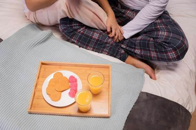 Top view breakfast in bed Free Photo
