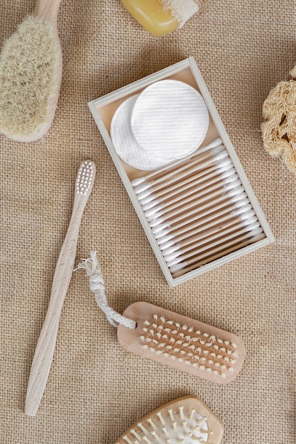 Top view brushes and cotton pads arrangement Free Photo