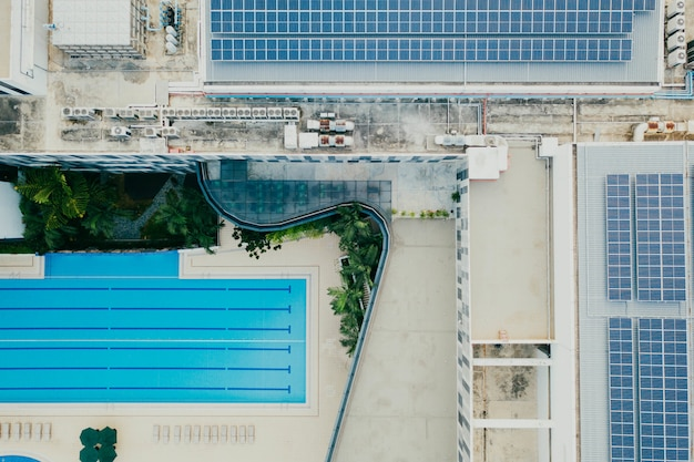 Top view of buildings and swimming pool photo free download - Swimming pool on top of skyscraper ...