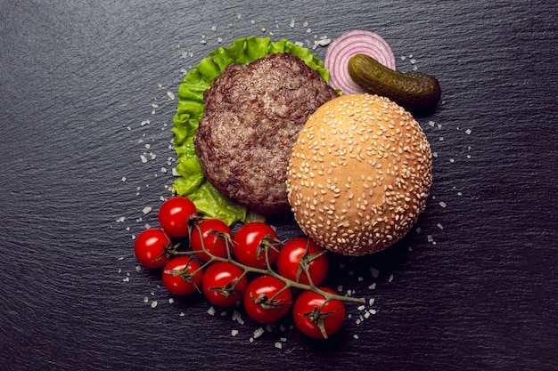 Top view burger ingredients Free Photo