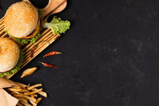Top view of burgers with copy space Premium Photo