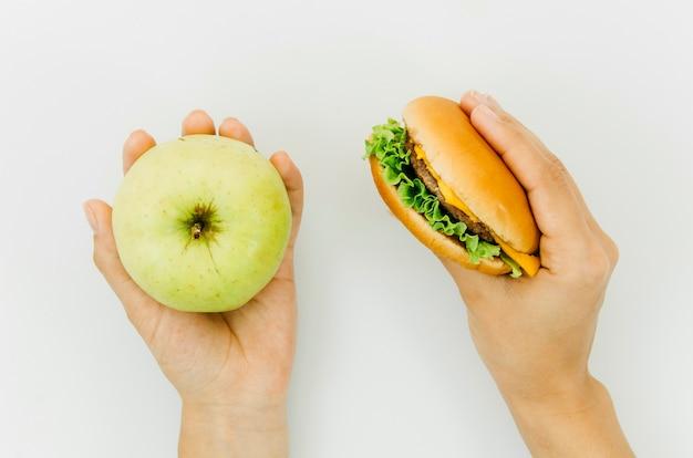 Top view burguer vs apple Free Photo