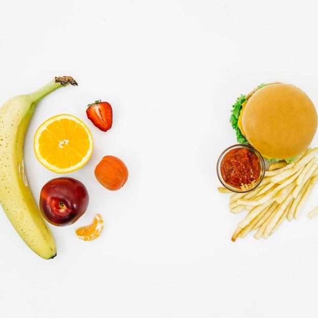 Top view burguer vs fruit Free Photo