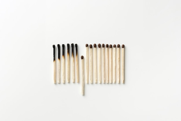 Top view burned matches Free Photo