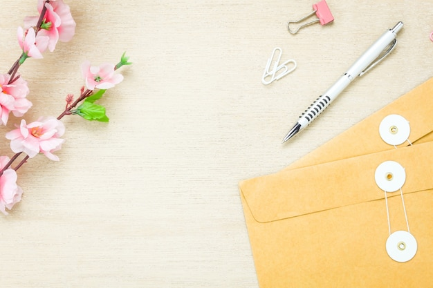 top view business office desk background the pen letter flower c