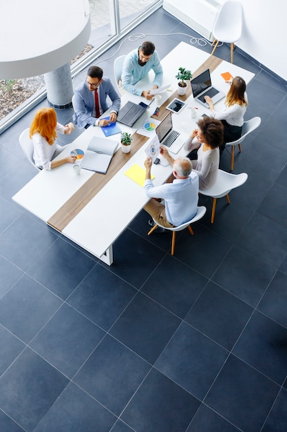 Top view at business people in office Premium Photo