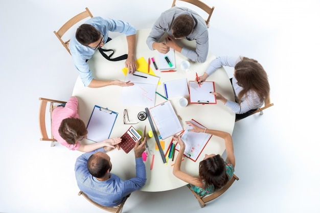 Top view of business team on workspace Free Photo