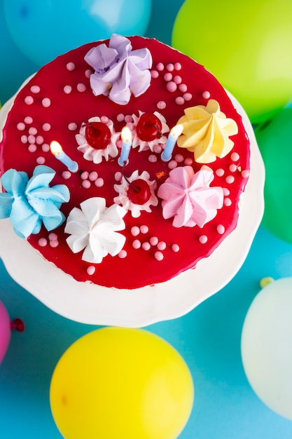 Top view of cake with candles Free Photo