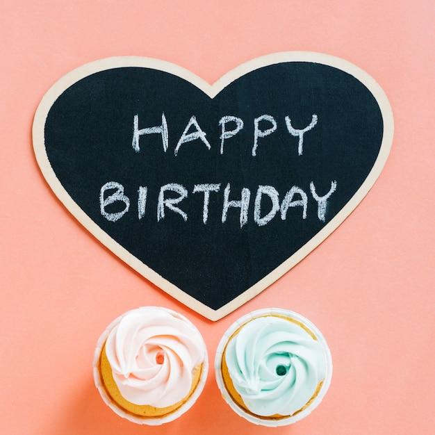 誕生日の要素を持つトップビューカード 無料写真