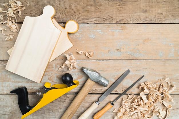 Top view carpenter set of tools Premium Photo