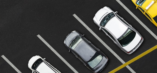 Top view of cars on parking lot Premium Photo