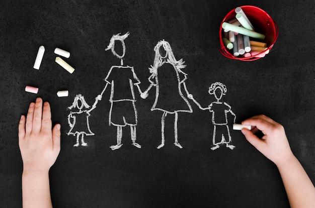 黒板に子供を持つ親の平面図チョーク図面 無料写真