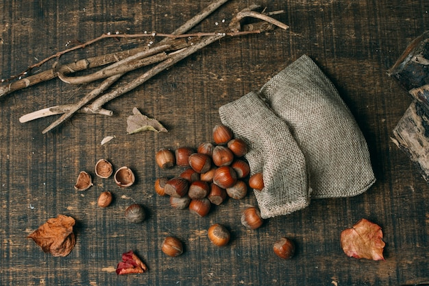 Top view chestnuts in a bag Free Photo