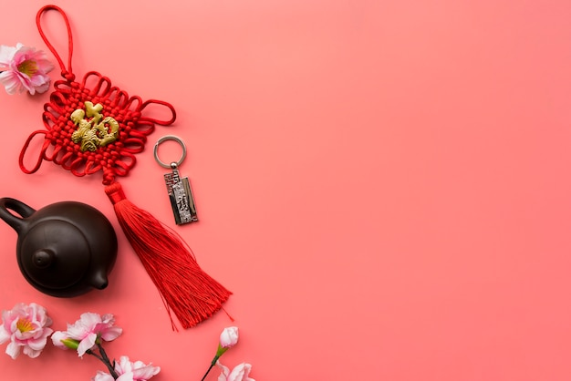 Top view chinese new year composition with copyspace Free Photo
